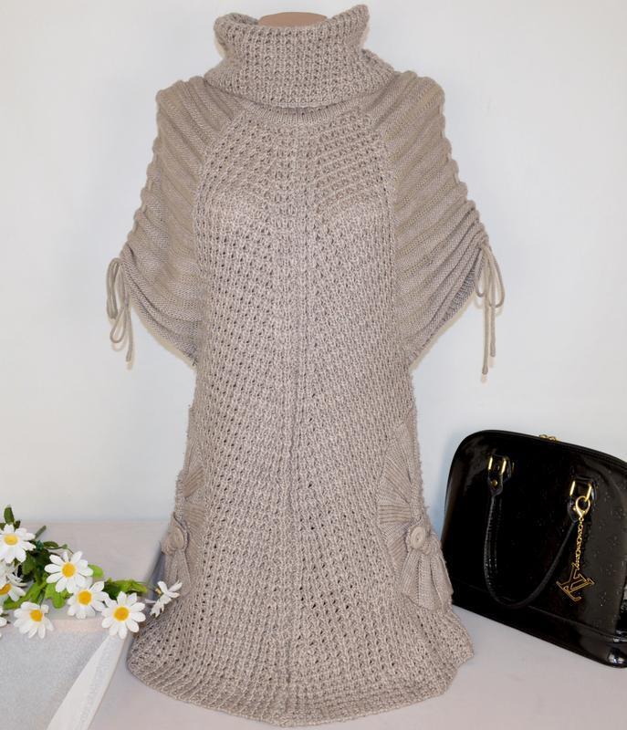 Брендовое вязаное теплое миди платье с горловиной и карманами ...