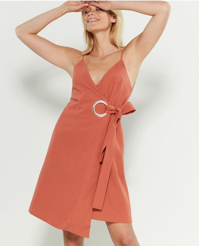 Платье лосось дизайнера сихам элмави бренда c/meo collective