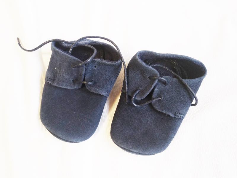 Пинетки кожаные синие на шнурках (размер 18-18,5 (6-9 мес))