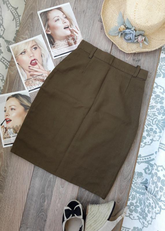 Шерстяная юбка карандаш цвета хаки