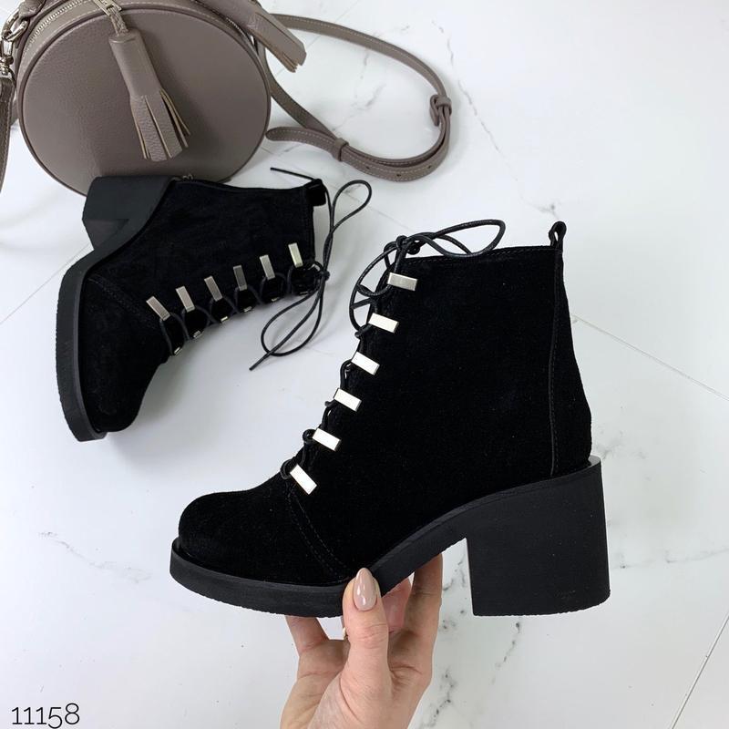 Зимние ботинки из натуральной замши,чёрные замшевые ботинки на...