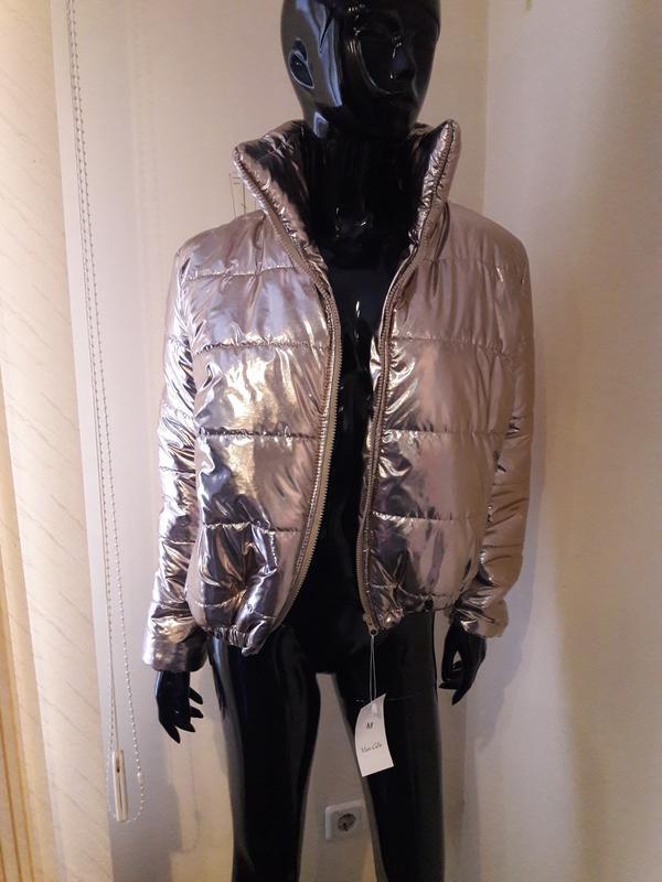 Модная теплая золотая куртка
