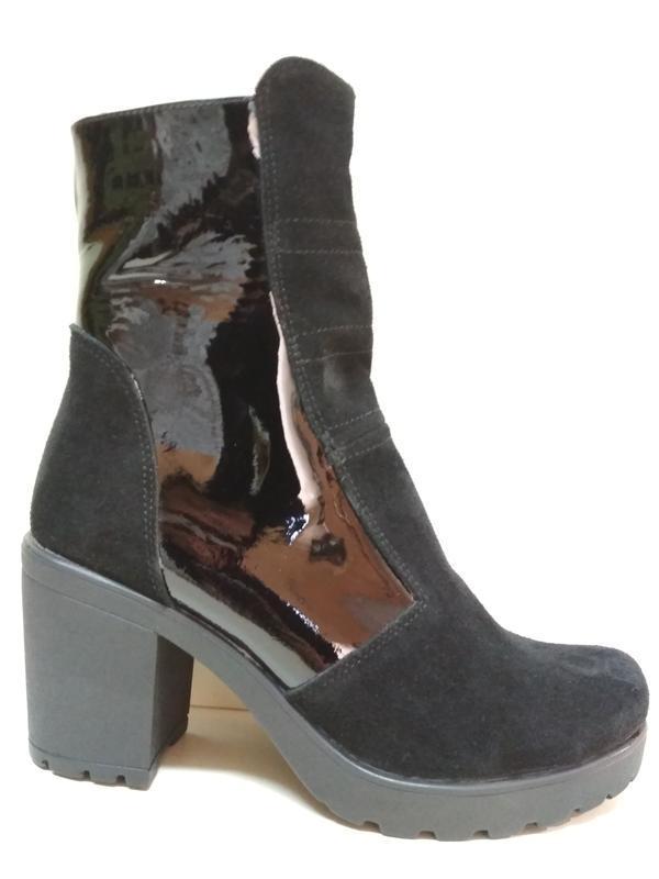 Ботинки 42-43 р ботильооны кожа+замш