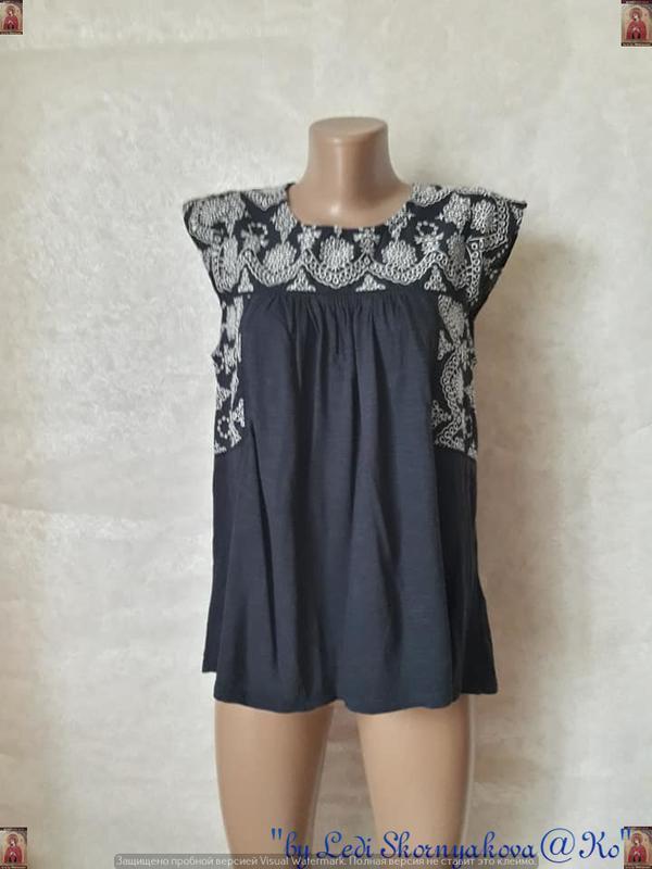 Фирменная fat face блуза со 100% хлопка в синем цвете с кружев...