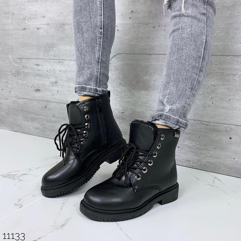 Зимние ботинки мартинсы чёрного цвета,стильные зимние ботинки ...
