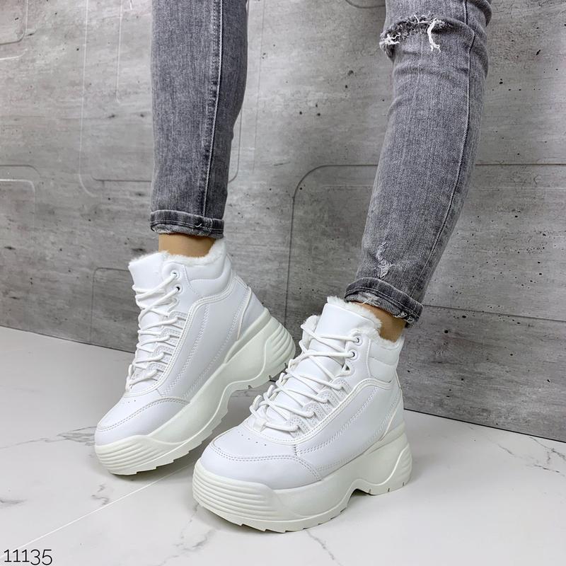 Массивные зимние кроссовки на платформе, белые зимние кроссовк...