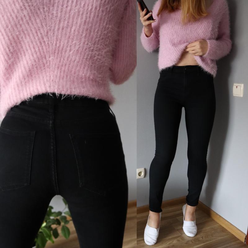 🔥черные джинсы skinny. высокая посадка