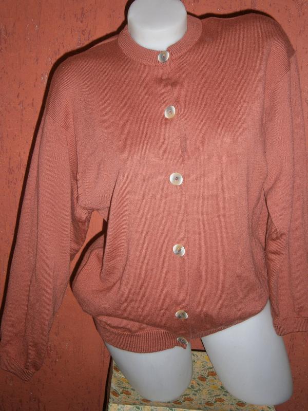 Кофта из мериносовой шерсти винтаж терракотовый цвет