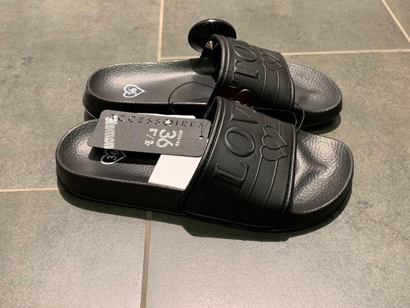 Чёрные пляжные шлёпанцы тапочки тапки amisu есть размеры