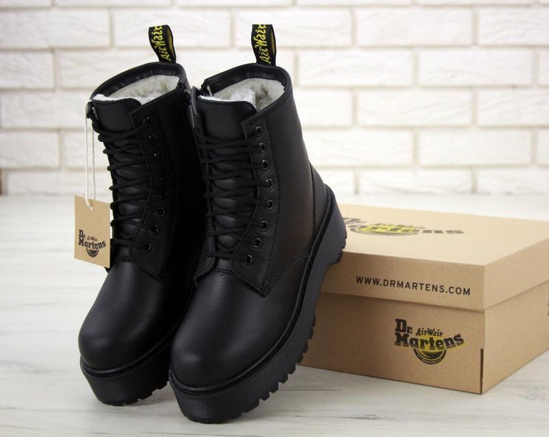 Шикарные женские зимние ботинки с мехом dr. martens jadon mono...
