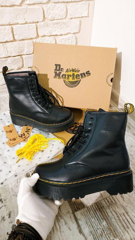 Dr. martens jadon black fur мех женские зимние ботинки мартинс...