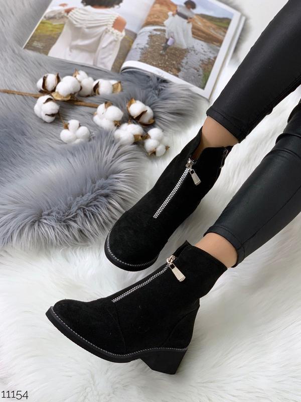 Зимние замшевые ботинки с молниями,чёрные зимние ботинки из на...