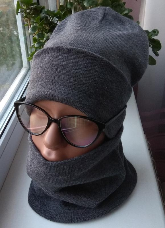 Новый модный комплект: шапка бини и снуд (снуд на флисе) , тем...