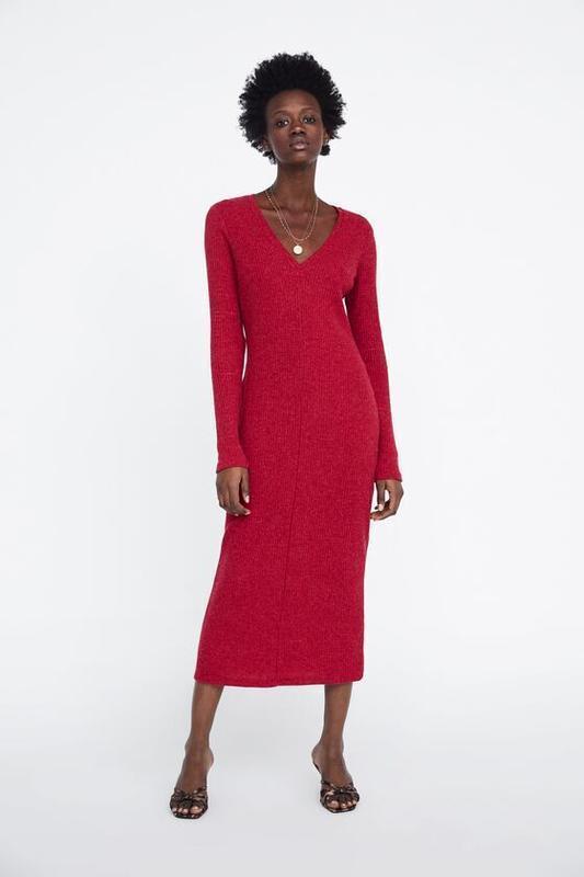 Платье миди  в рубчик от zara