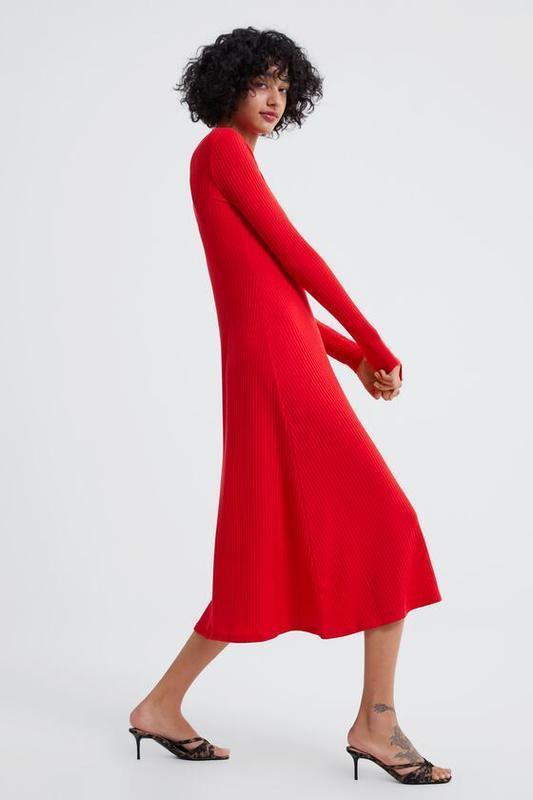 Красное платье миди zara original