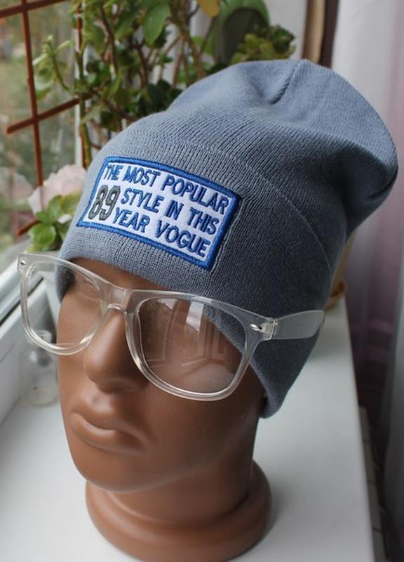 Новая стильная шапка бини,однослойная, серо-синяя