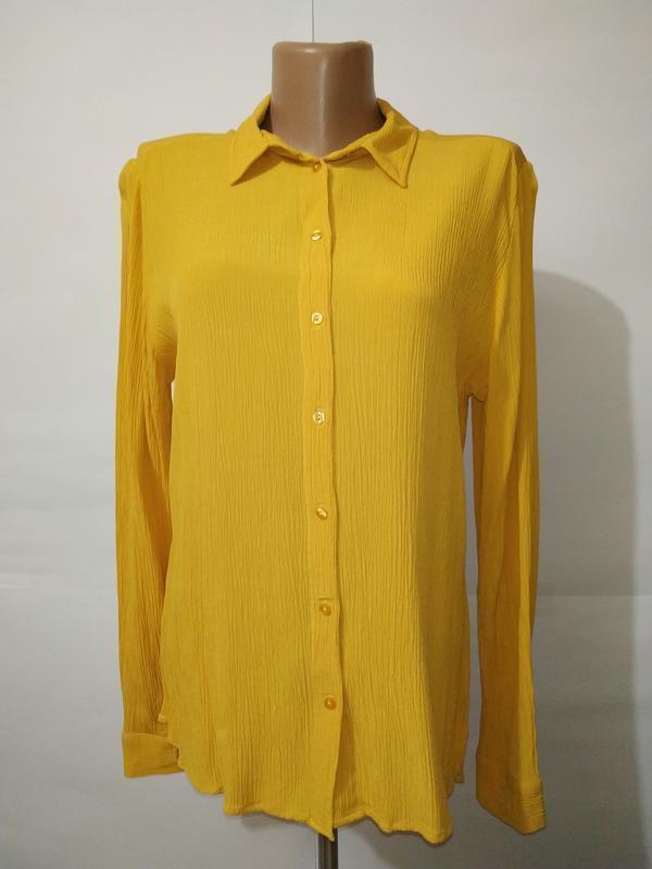 Натуральная новая желтая блуза рубашка жатка marks&spencer uk ...