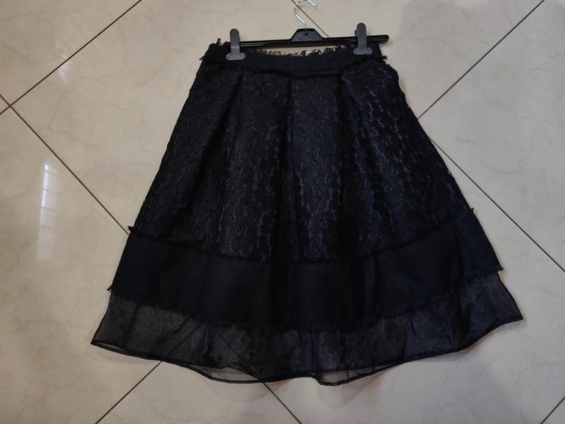 👑♥️final sale 2019 ♥️👑  черная кружевная миди юбка