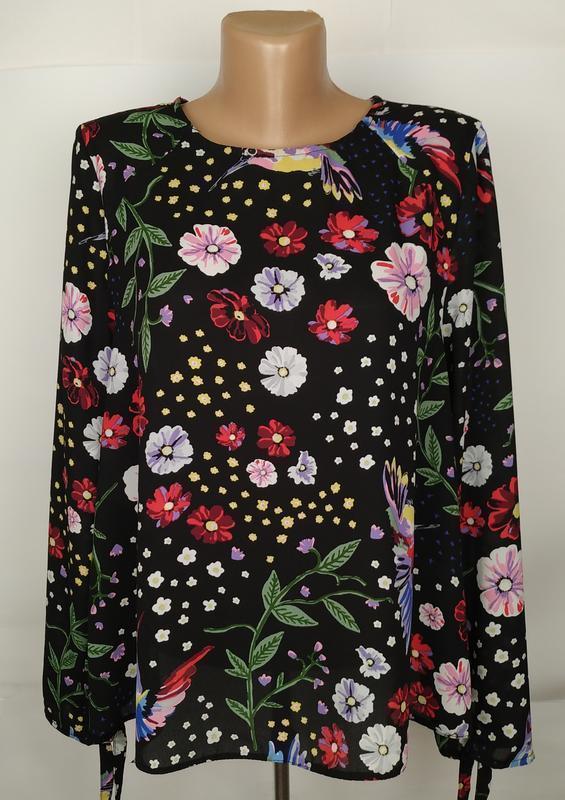 Блуза легкая в красивенный принт птички калибри uk 16/44/xl