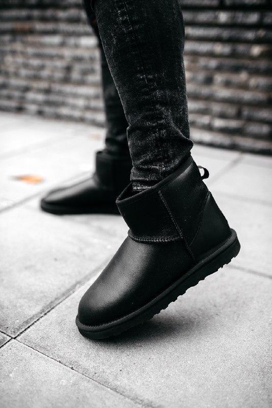 """Шикарные женские угги ugg mini """"leather black"""""""