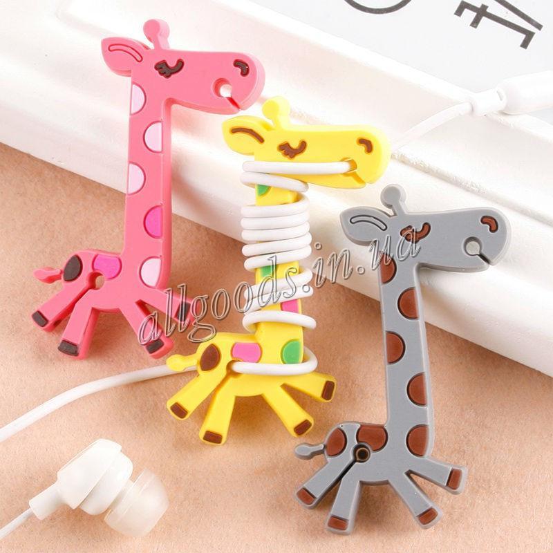 Органайзер силиконовый для наушников Жираф розовый