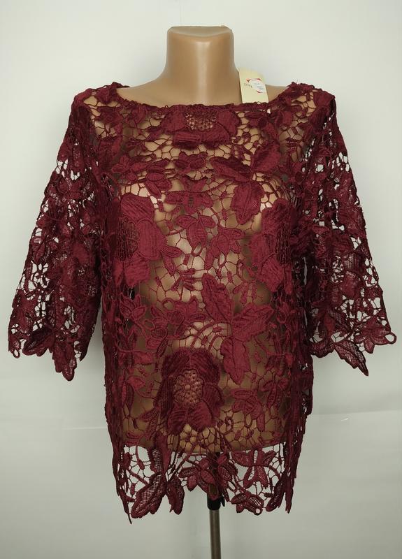 Блуза топ шикарная кружевная новая стильная papaya uk 14/42/l