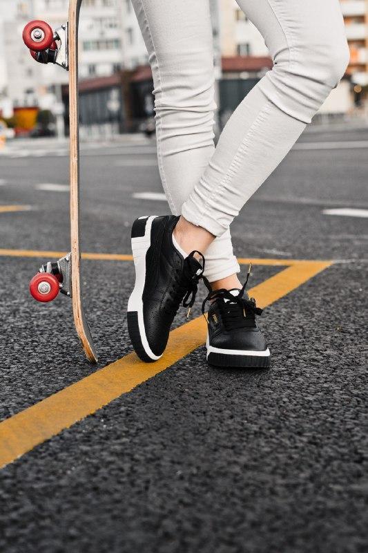 Шикарные женские кроссовки puma cali black/white - Фото 4