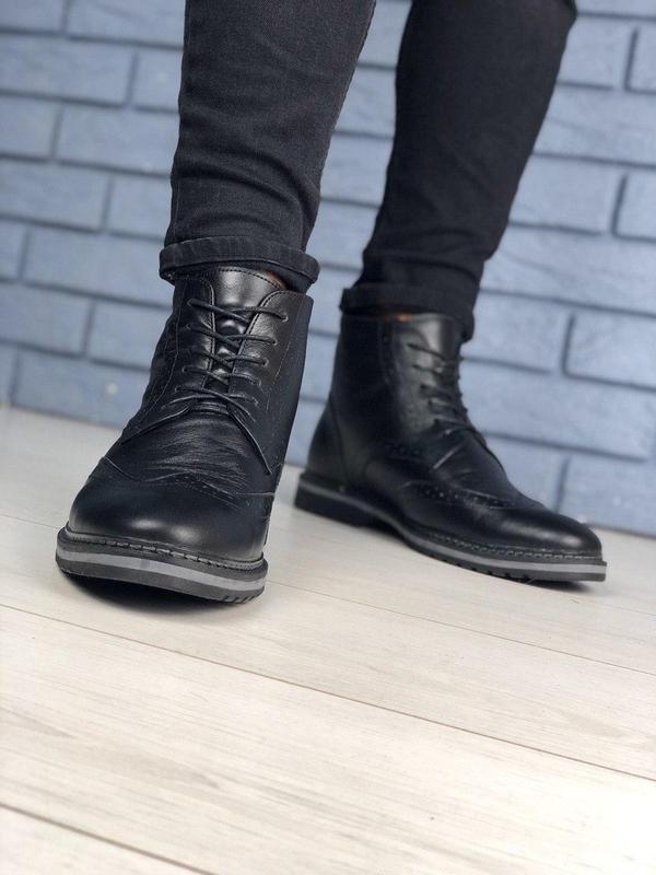 Зимние мужские кожаные черные ботинки оксфорд - Фото 2