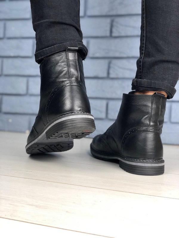 Зимние мужские кожаные черные ботинки оксфорд - Фото 3