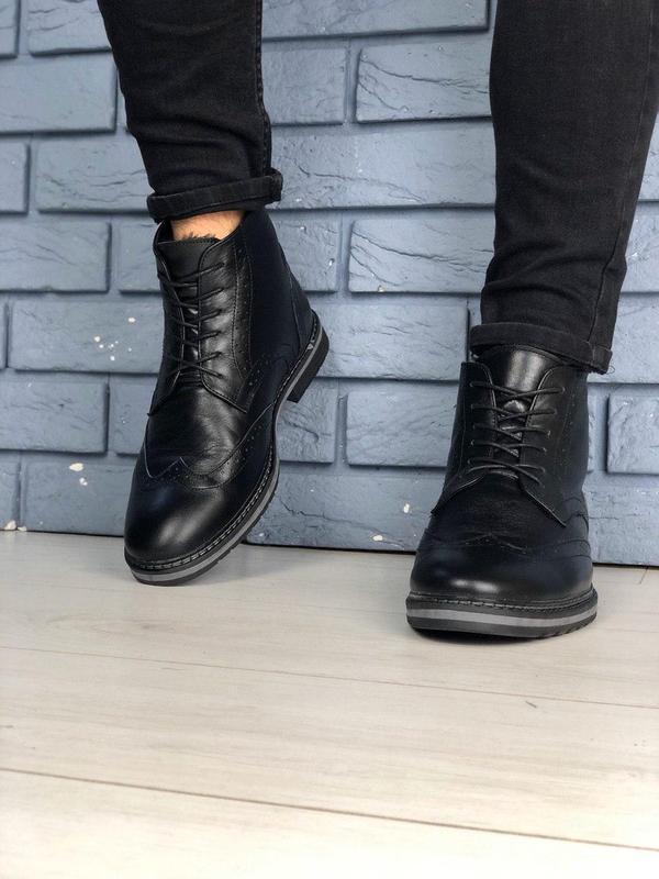 Зимние мужские кожаные черные ботинки оксфорд - Фото 4