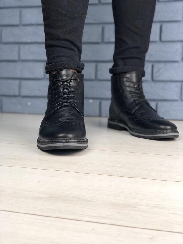 Зимние мужские кожаные черные ботинки оксфорд - Фото 5