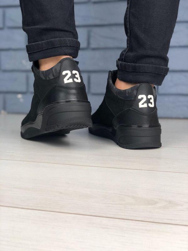 Мужские зимние черные ботинки из нубука - Фото 2