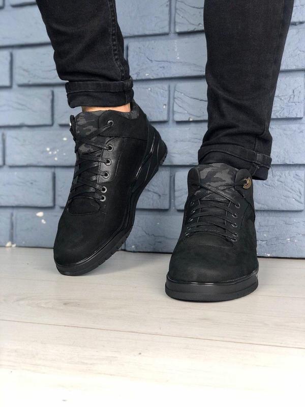 Мужские зимние черные ботинки из нубука - Фото 3