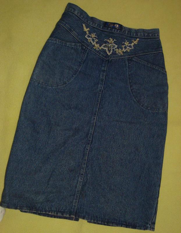 Джинсовая юбка джинсова спідниця із вишивкою