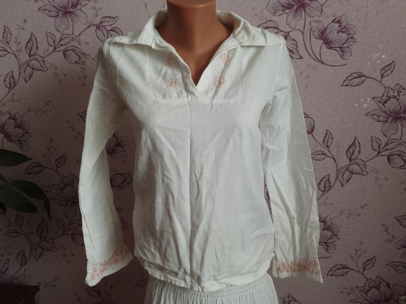 Блуза рубашка натуральная хлопковая льняная с вышивкой