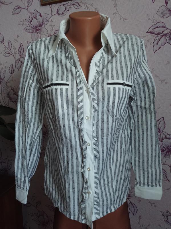 Красивая полосатая хлопковая рубашка блуза в полоску + майка в...