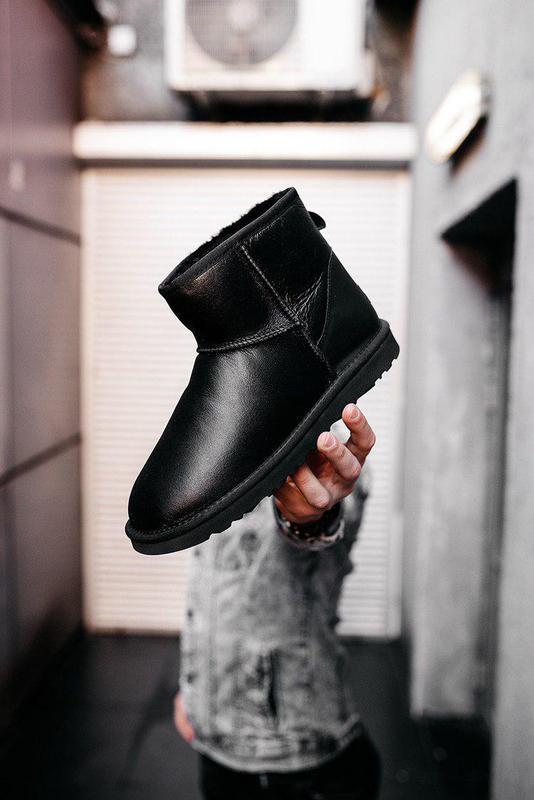 Ugg classic mini leather black! женские кожаные зимние угги/ с...
