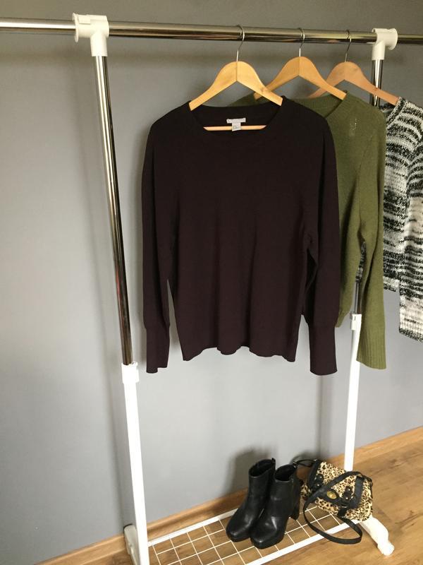 Базовый свитер темно сливового цвета h&m