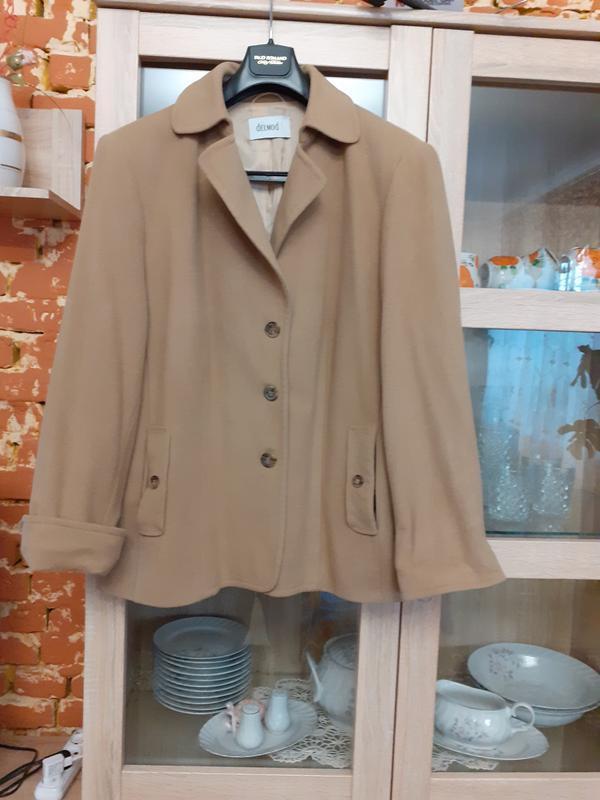 Кашемировое  с карманами пальто большого размера