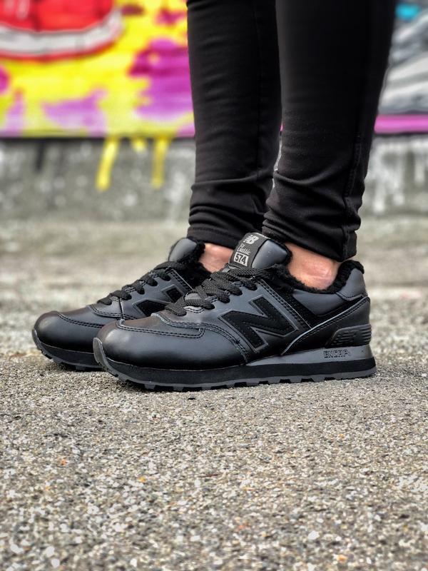 New balance 574 black женские зимние кроссовки с мехом чёрные ...