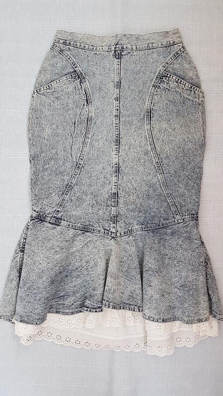 Винтажная джинсовая юбка миди варенка с кружевом s