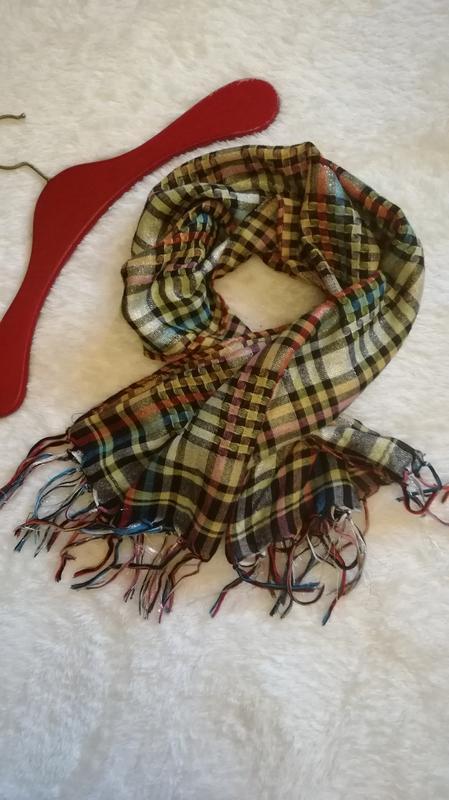 Большой платок шарф в клетку с бахромой 100/100