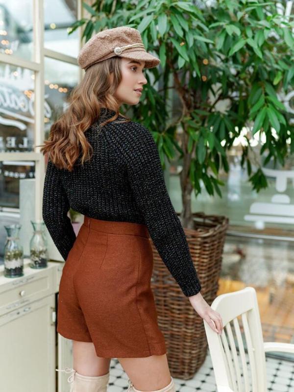 Теплый плюшевый свитер с люрексом peacocks