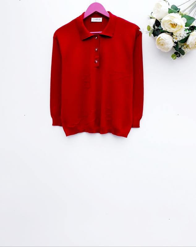Красивый яркий свитер с воротником практичный шерстяный свитер