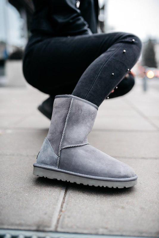 Ugg classic short 2 grey! женские замшевые зимние угги/ сапоги...