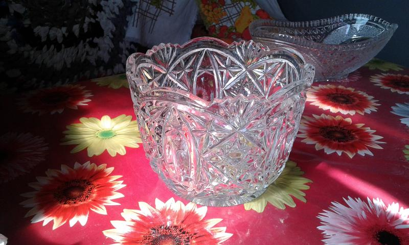 Хрустальная салатница-конфетница -хрусталь времён ссср