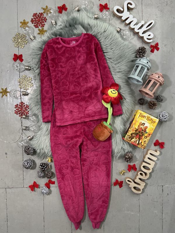 Теплая флисовая пижама в сердечках №72