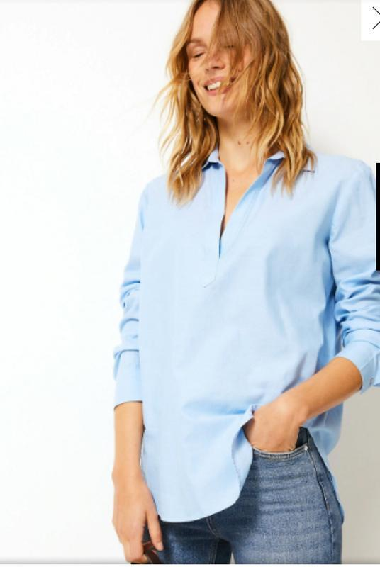 Актуальная натуральная блуза рубашка бренда new look, р.14