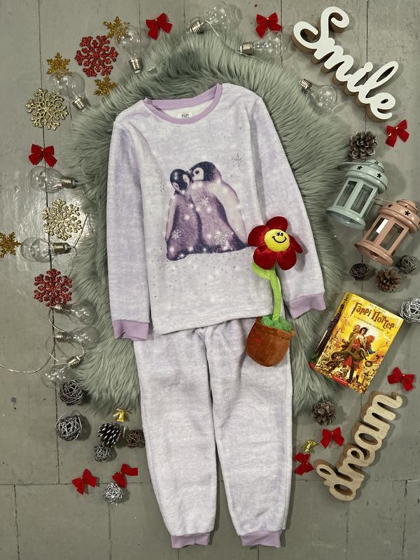 Теплая флисовая пижама с пингвинами №64