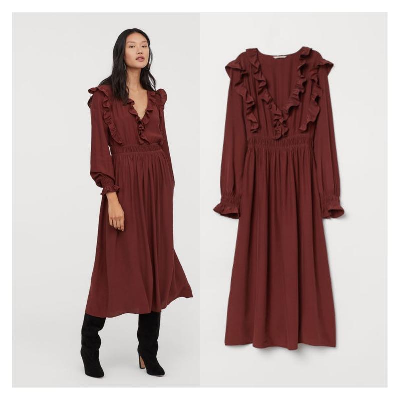 Коричневое платье с вафельной резинкой